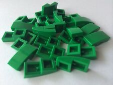 LEGO New Lot Of 24 Green Smooth Tile Plate With Bow 1X2X2/3 Friends Roof Floor