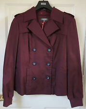 M&S Limited Collection Cotton Rich Double Breasted Mac, Burgundy, SZ 12, BNWT