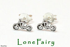 Solid 925 Sterling Silver Bicycle Novelty Stud Earrings Bike Riding Cyclist
