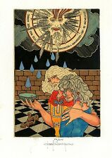 Tarot, The Sun,  Ex libris Etching by Paolo Rovegno, Italy