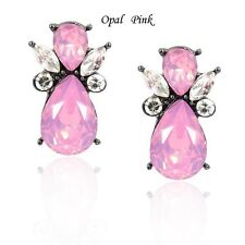 New Design Stud Earrings Glass Stone European Brand Silver Plated Pink Earrings
