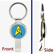 Star Trek blue Science Pennant or Keychain silver tone secret bottle opener