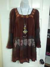 PLUS 1X 2X BOHO BOHEMIAN EMBROIDERED SEQUINED TUNIC TOP BLOUSE BROWN