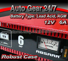 Absaar 12V 6A Amp Strong Metal Case Car,Motor Bike Lead Acid AGM Battery Charger