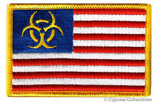 ZOMBIE STATES OF AMERICA PATCH embroidered iron-on BIOHAZARD SYMBOL UNITED US