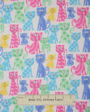 Comfy Flannel Kitty Cats Multicolor Cat Toss White YARD Cotton FLANNEL Fabric