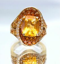 Estate 14K Solid Yellow Gold Citrine And Diamond Statement/Cocktail Ring, 6.35ct