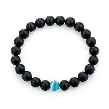 8mm NEW Fit Life Energy Blue Cat Eye Gem Black Matte Onyx Beads Bracelet for Men