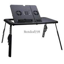 Adjustable foldable laptop Notebook Desk Table With W/2 Fans Stand Bed Tray USA