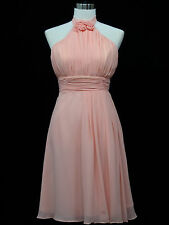 Cherlone Chiffon Pink Prom Ball Evening Wedding Bridesmaid Knee Length Dress 14