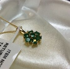 1 Ct,  Brazilian, Emerald Pendant, Cluster, 14K Gold Overlay Sterling Silver