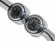 """7/8"""" 1"""" Motorcycle Handlebar Chrome Dial Clock Temp Thermometer Glow Fit HARLEY"""