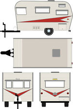 GREENLIGHT PRE-ORDER 1:64 1959 SIESTA TRAVEL TRAILER SILVER AND RED
