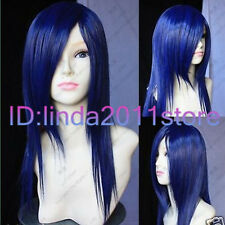 new blue black mixed long straight cosplay full wig+gift