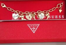 Guess signature gold Tones bracelet heart Love charms With Love New NWT