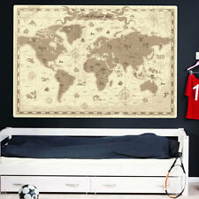 Carte du monde wall stickers enfants nurserie enfants pirate carte au trésor 414
