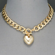 Gold Cuban Link Chain Choker Style Heart Shape Pendant Necklace