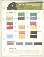 1973 AMC DUPONT COLOR PAINT CHIP CHART JAVELIN AMX  MORE