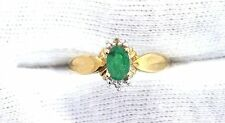 10Kt REAL Yellow Gold Natural Oval Emerald Gem Stone Gemstone Ladies Ring