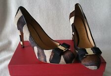Salvatore Ferragamo Pimpa Vara Varina Bow Pump Pony Cacao Brown Hair Calf 7.5 B