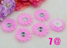 DIY 5pcs Deep Pink Satin Ribbon Flower with Crystal Bead Appliques Craft Supplie