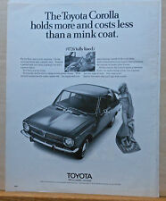 1970 magazine ad for Toyota Corolla - holds more costs less than mink coat