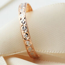 Au750 Pure 18k Multi-tone Gold Ring Women Pretty Star Band Ring US:7