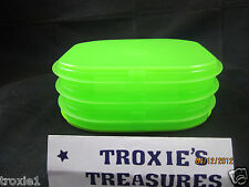 Tupperware Fridge Stackables Deli Meat Cheese Keeper Stacking Trays Lime Green