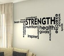 Strength Fitness Words Gym Quotes wall vinyl decals stickers Art Wall Graphics