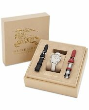 BRAND NEW BURBERRY BU10112 INTERCHANGEABLE STRAPS SILVER WOMEN'S WATCH BOX SET