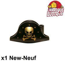 Lego - 1x Minifig headgear hat chapeau pirate tete mort noir/black 2528pb06 NEUF