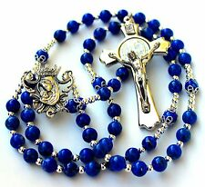 Beautiful & Durable Lapis Lazuli Gemstone Catholic Rosary With Silver Crucifix