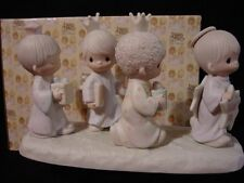 t Precious Moments-HUGE 4 Figures-3 Wiseman Following Angel w/Star-Nativity