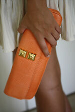 STARK AT HARRODS ORANGE PYTHON STUDDED BAGUETTE CLUTCH BAG