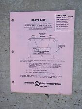 1966 Quincy Model W-264 W-280 Air Compressor Parts List Record of Change 34  R