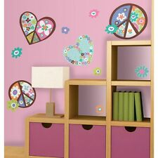 New Giant FLORAL HEARTS & PEACE SIGNS WALL DECALS Girls Stickers Retro Decor