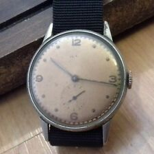 Vintage men's OLMA military wristwatch, 15J, 3 finger bridge, runs great, 2B