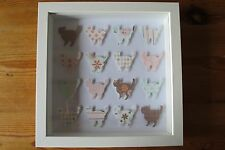 Handmade wall hanging picture shabby chic CATS in 3d box frame great gift
