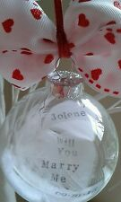 Personalised Valentine's I love you marry me  keepsake gift present proposal