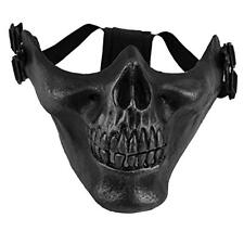 Black Army Skull Skeleton Airsoft Paintball Game Half Face Mask Protect NEW