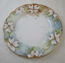 Vintage La Seynie Limoges France P & P Plate Hand Painted Dogwood Flowers Gold T
