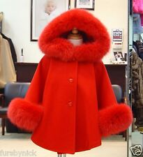 Children's Red Cashmere Hooded Coat With Fox Fur Trim - Beautifully Canadian