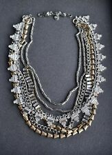 HOT! 100% Authentic Silver Layered Sutton Necklace Crystal Statement Necklace