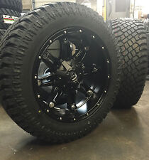 "20"" 20x10 Fuel Hostage Black Wheels 33"" AT Tires Package 8x170 Ford F250 F350"