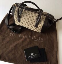 BOTTEGA VENETA Brown BV Logo Canvas & Leather Handbag, Dust Cover Mirror & Strap
