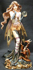 SMALL MYSTIC FAIRY  with Baby Dragon and Crystal   Statue Figurine  H9""