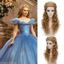 "28"" Movie Princess Cinderella Wig Long Curly Brown Anime Cosplay Wig with Braid"