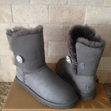 UGG Classic Short Bailey Button Bling Gray Suede Sheepskin Boots US 6 Womens