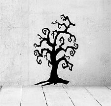 SPOOKY TREE 1M X 1M STICKER VINYL DECAL ART WINDOW WALL SCARY CAT BAT HALLOWEEN
