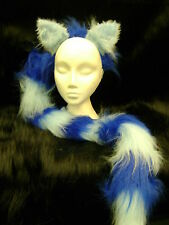 "The Cheshire Cat Fancy Dress Ears And Tail Light Blue & Royal Blue 34"" Tail"